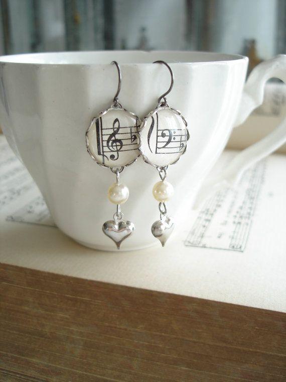 Harmony Music Earrings. Vintage Sheet Music by PreciousPastimes