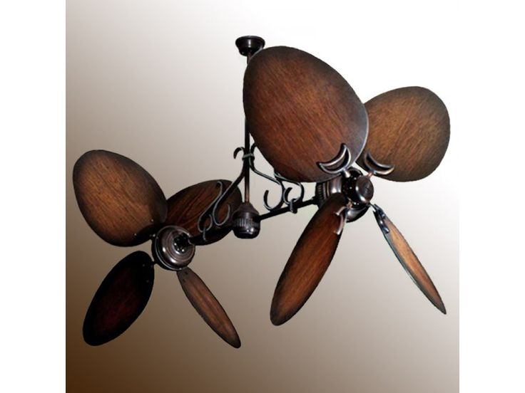 Twin Star II Double Ceiling Fan - Oiled Bronze with 13 Blade Options