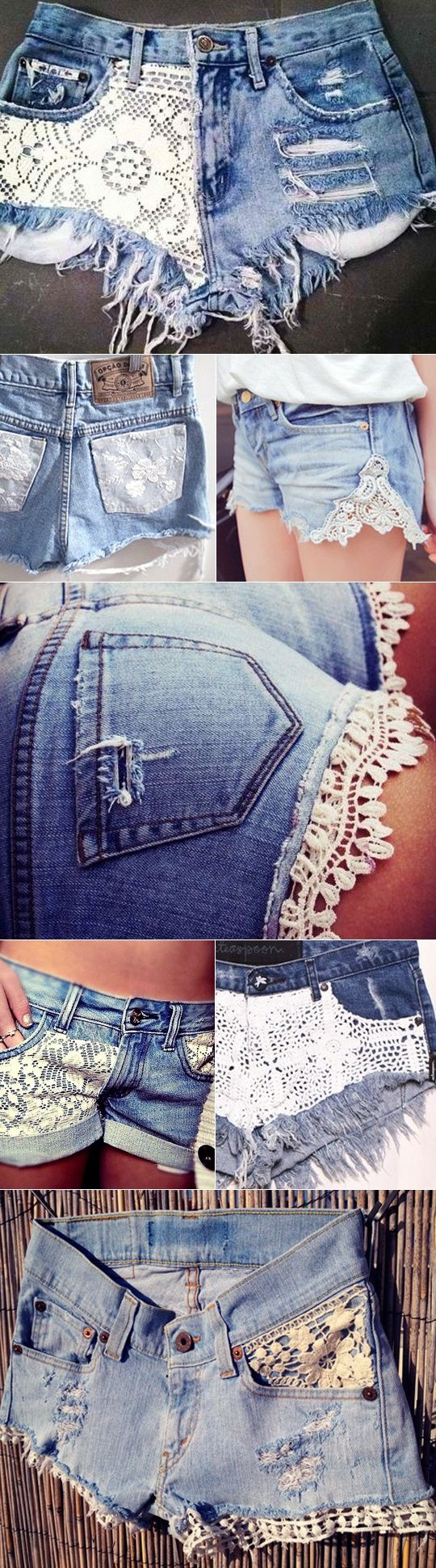 CROCHET cut off shorts jeans DIY lace crafts.... I love the shorts at the end- cotton crochet ribbon is easy to find at a fabric store.... (fun to get lace from tablecloths, napkins, women's lingerie and clothes, curtains, bedspreads, etc from Goodwill) repurpose
