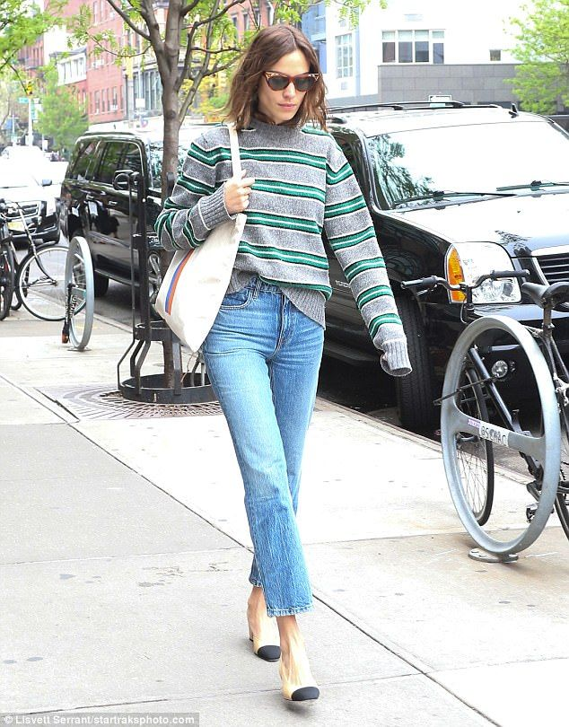 Down time chic: Earlier in the day, Alexa wore a chic striped jumper and cropped jeans ensemble as she strolled in NYC