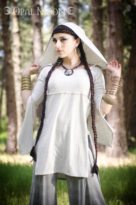 NEW MidSummer Hooded Tunic Top in Heather White by Opal Moon Designs (Size S, M, L, XL). $89.00, via Etsy.