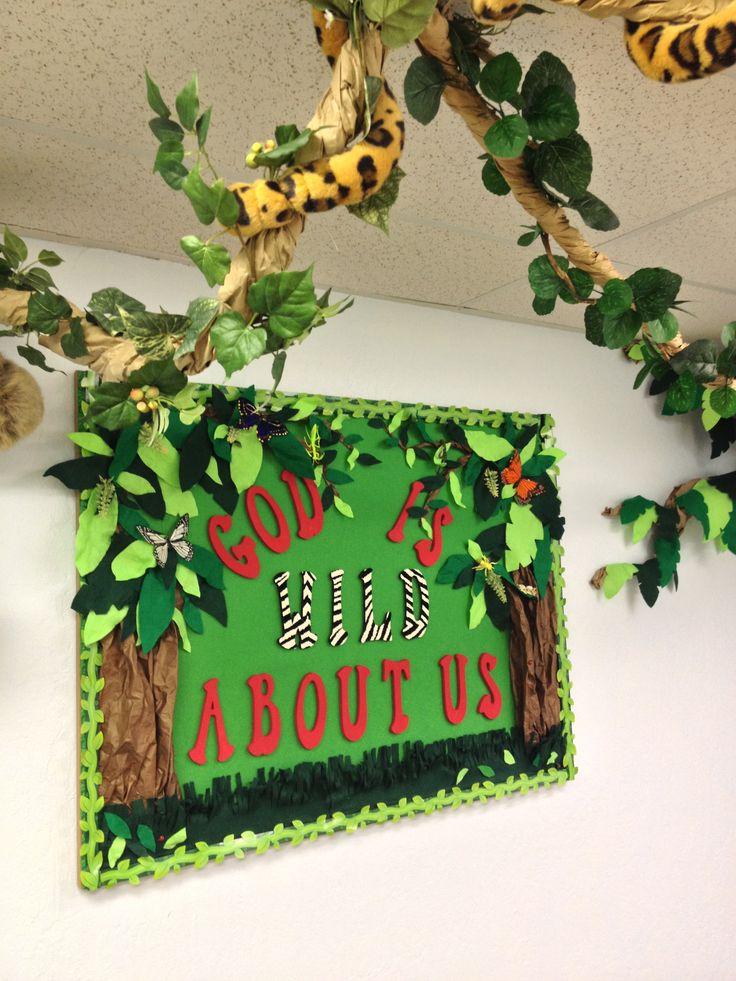 Middle School Reading Classroom Decorations ~ Beautiful jungle theme bulletin board sunday school