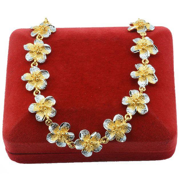 Inteligente Pulseiras 17 cm Meninas Flores Pulseiras Para As Mulheres de Prata Banhado A Ouro Amarelo