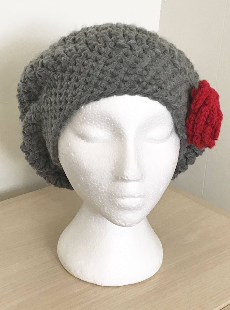 A personal favorite from my Etsy shop https://www.etsy.com/ca/listing/596775425/womans-slouchy-beret-with-rose-applique