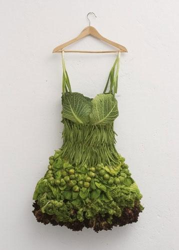 Groene jurk. Groenten.