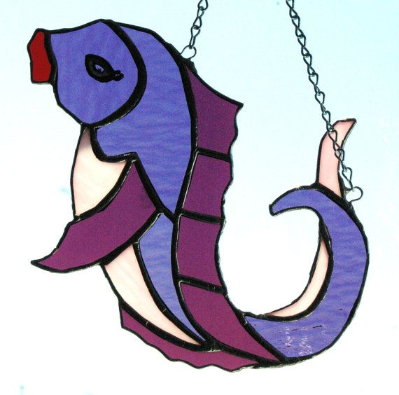 Handmade Stained Glass  Pink and Purple Lady Fish by glassnwood