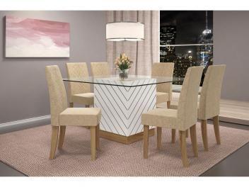 Conjunto de Mesa com 6 Cadeiras Estofadas - Dj móveis Daniella de R$ 2.999,00 por R$ 2.619,90 em até 10x de R$ 261,99 sem juros ou R$ 2.357,91 à vista.