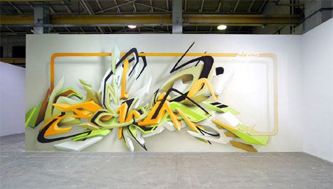 """Daim is a German graffiti artist who first started spraying in 1989 and hasn't stopped since. Daim has become one of the most sought-after graffiti artists in the world, and has even appeared in the Guinness Book of World Records for spraying the highest graffiti in the world. The only """"traditional"""" graffiti artist on our list, Daim creates 3D art on interior and exterior walls, canvas and vehicles and also works in animation and sculpture."""