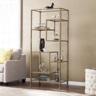 Harper Blvd Jensen Metal and Glass Asymmetrical Etagere/Bookcase - Matte Khaki | Overstock.com Shopping - The Best Deals on Media/Bookshelves