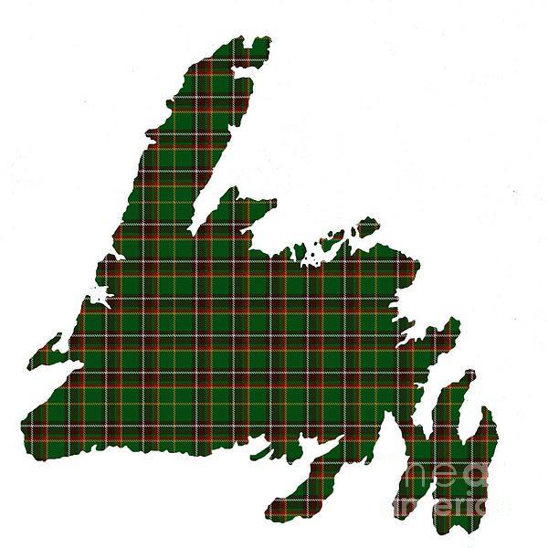 Island of Newfoundland Tartan Map Small Plaid by Barbara Griffin.