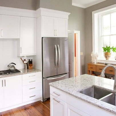 Sw7023 requisite gray by sherwin williams kitchen for Classic kitchen paint colors