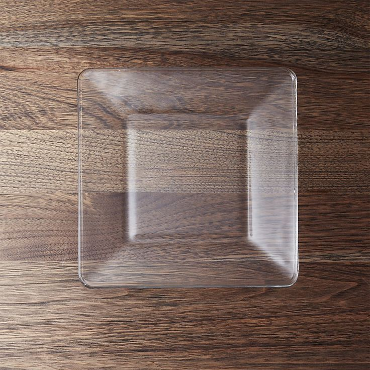 Shop Tempo Square Clear Glass Salad Plate.  Tempo goes at right angles in square-shaped, clear-glass salad plates that have a clean, modern look that's perfect for everyday, casual dining.