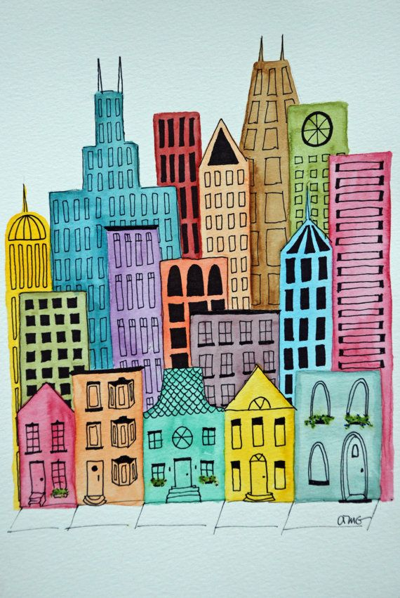 Colourful Cityscape- maybe paint with watercolors, added details with ink, cut out and collage.