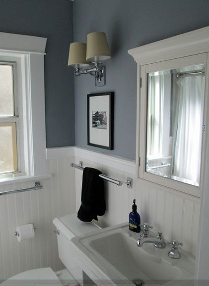 White Bathroom With Color Accent Amp Beadboard In 2019