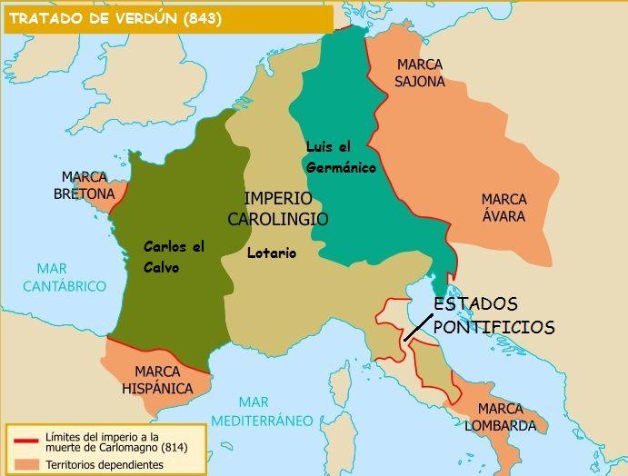 División del Imperio Carolingio tras el Tratado de Verdún en el año 843