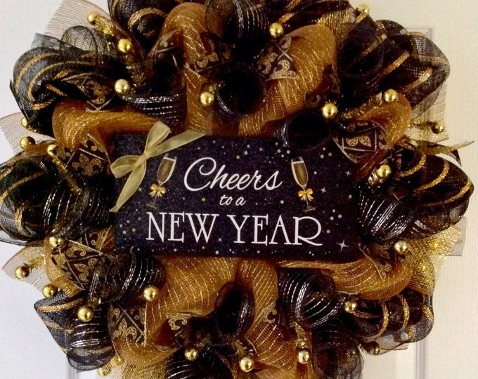 Cheers To A New Year Handmade Deco Mesh New Years Wreath