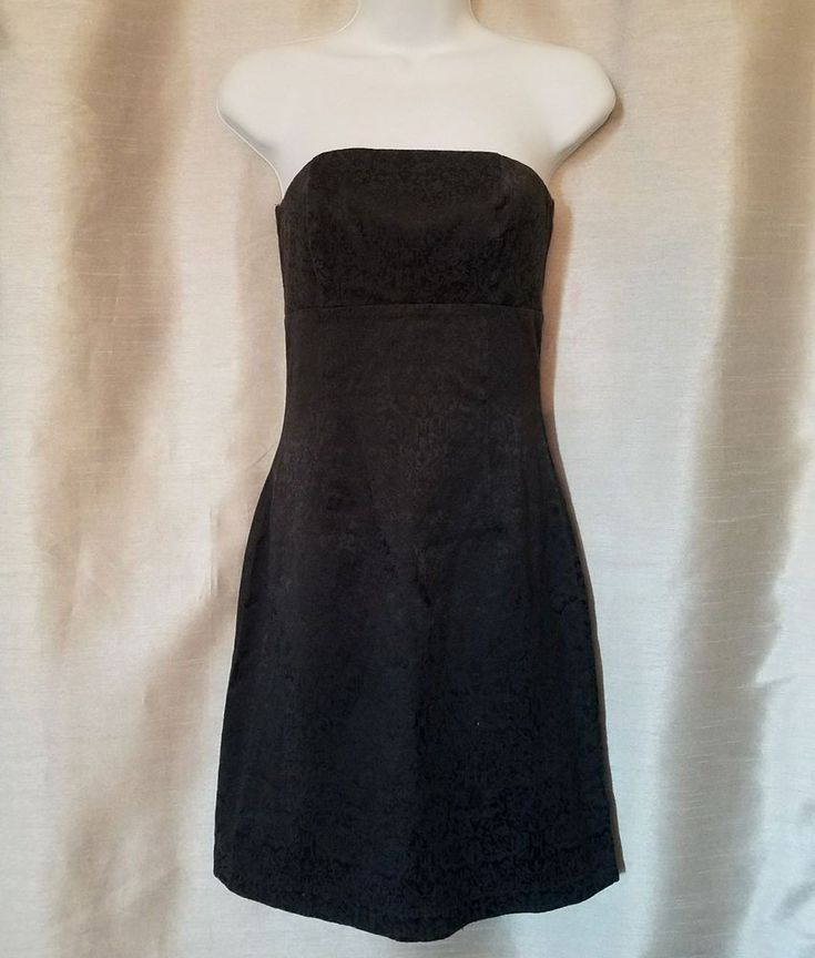 My Michelle Women's Strapless Black Dress Size 3/4 Party Cocktail Cotton Stretch #MyMichelle #SheathDress #PartyCocktail