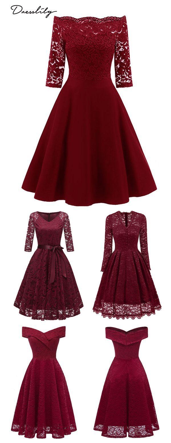Bis zu 90% Rabatt. Spitze aus der Schulter Vintage Flare Kleid für die Abendparty oder
