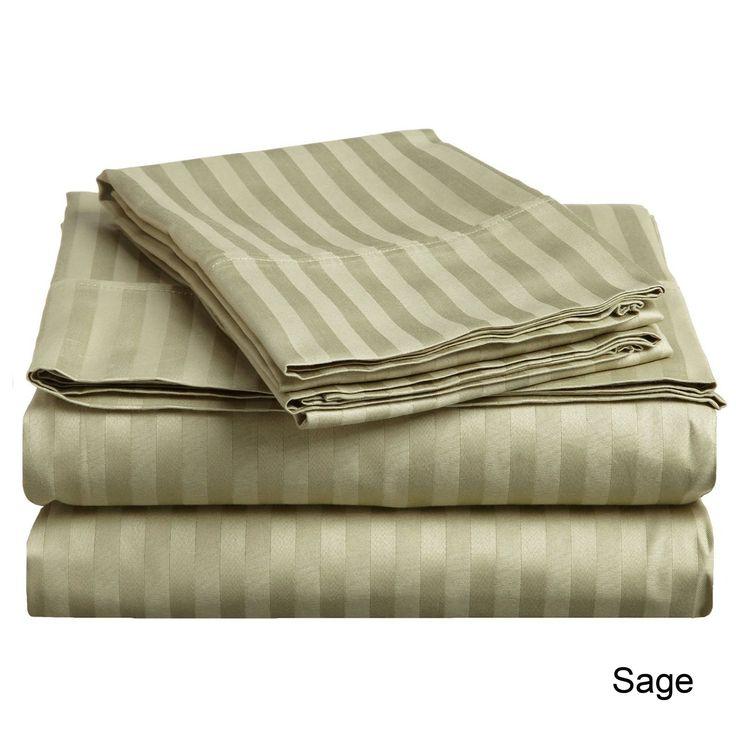 Superior 300 Thread Count Waterbed Stripe Sateen Sheet Set