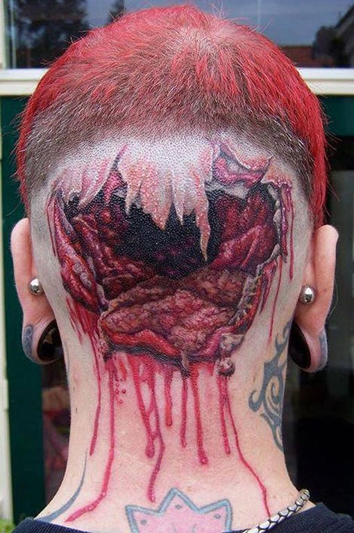 hole in the head tattoos tattoo on back of head, worst tattoos, ugliest tattoos, funny pictures, horrible nasty weird wtf