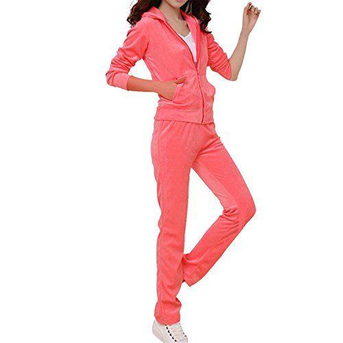 Umanak Fancy Womens Plain Full Velour Tracksuit Running Sports Jogger Suit CoralSmall -- ** AMAZON BEST BUY **