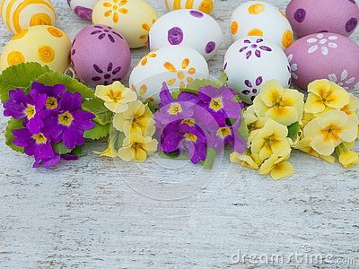 White, violet and yellow easter eggs decorated by stripes, dots and flowers and primrose bouquets on the white wooden board