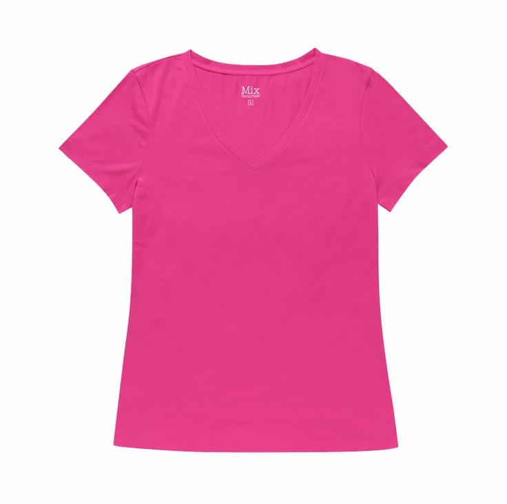 Basic V-Neck Tee - Pink