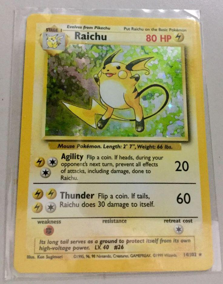 Rare Pokemon Card RAICHU 14/102 Base Set #1 Holo Foil Holographic Card 1999 #WizardsoftheCoast