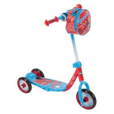 Huffy Marvel Spider Man 3 Wheel Scooter With Handlebar Bag