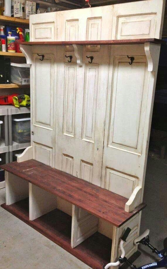 Coat rack bench from old doors