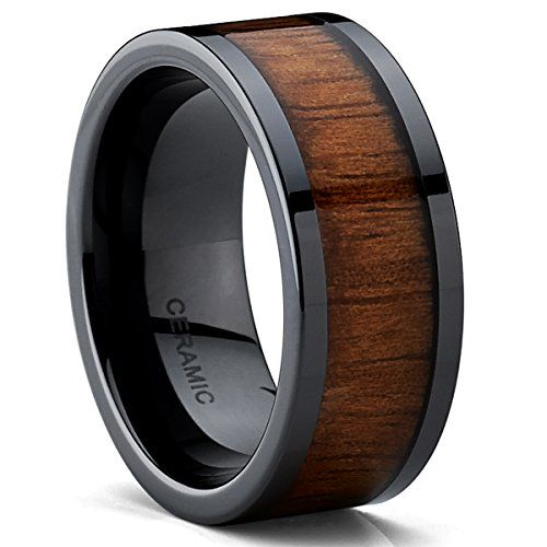 Black Ceramic Flat Top Wedding Band Ring with Real Koa Wood Inlay, 9MM Comfort Fit * You can find more details at http://www.amazon.com/gp/product/B00N47Z67S/?tag=splendidjewelry07-20&pxy=150716022217