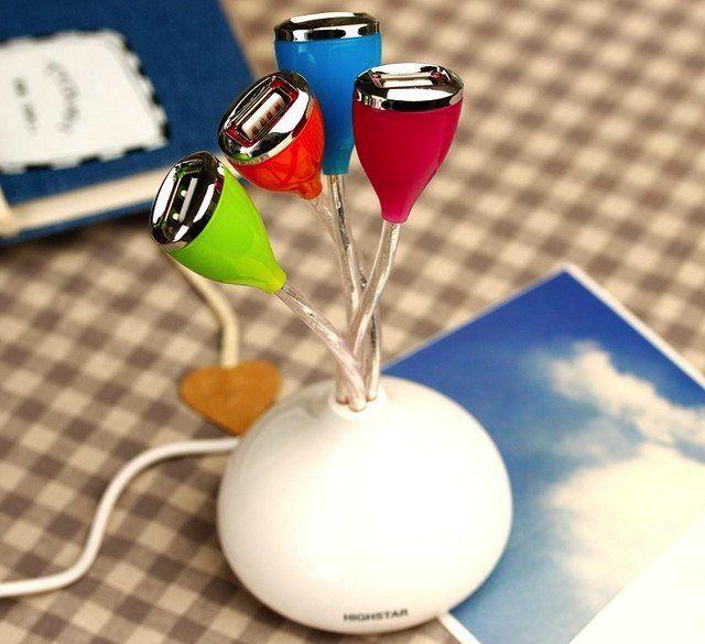 The Flower USB Hub is a light-up 4-port USB hub that expands the USB capacity on your computer. - http://thegadgetflow.com/portfolio/flower-usb-hub/