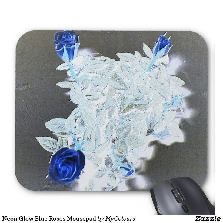 Neon Glow Blue Roses Mousepad