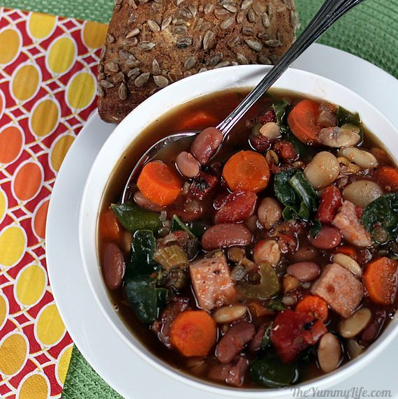 Slow Cooker 15 Bean Soup {Cooked 4/3/2013~I tossed the seasoning package included in soup and used my own seasonings. Delicious, Hearty Soup}