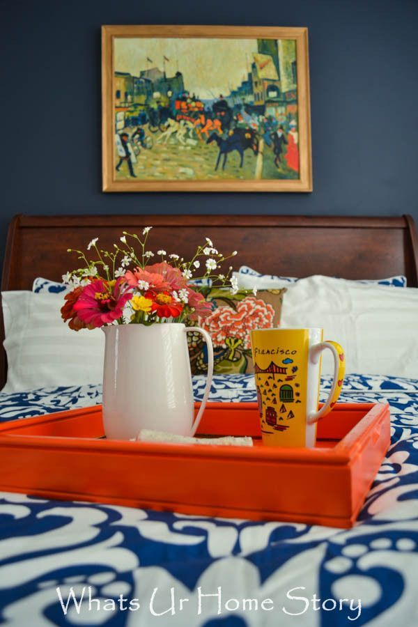 Navy & Coral Bedroom - Whats Ur Home Story