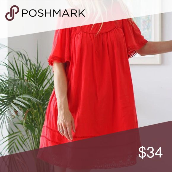 Super flowy red dress - perfect for vacation! Brand new with tags. Cotton, super flowy and light weight! Model is 5'4 - wearing size 6. Topshop Dresses