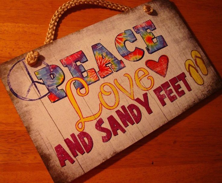 PEACE LOVE & SANDY FEET Tie Dye & Flip Flops on Rustic Beach Decor Wood Sign NEW #Tropical