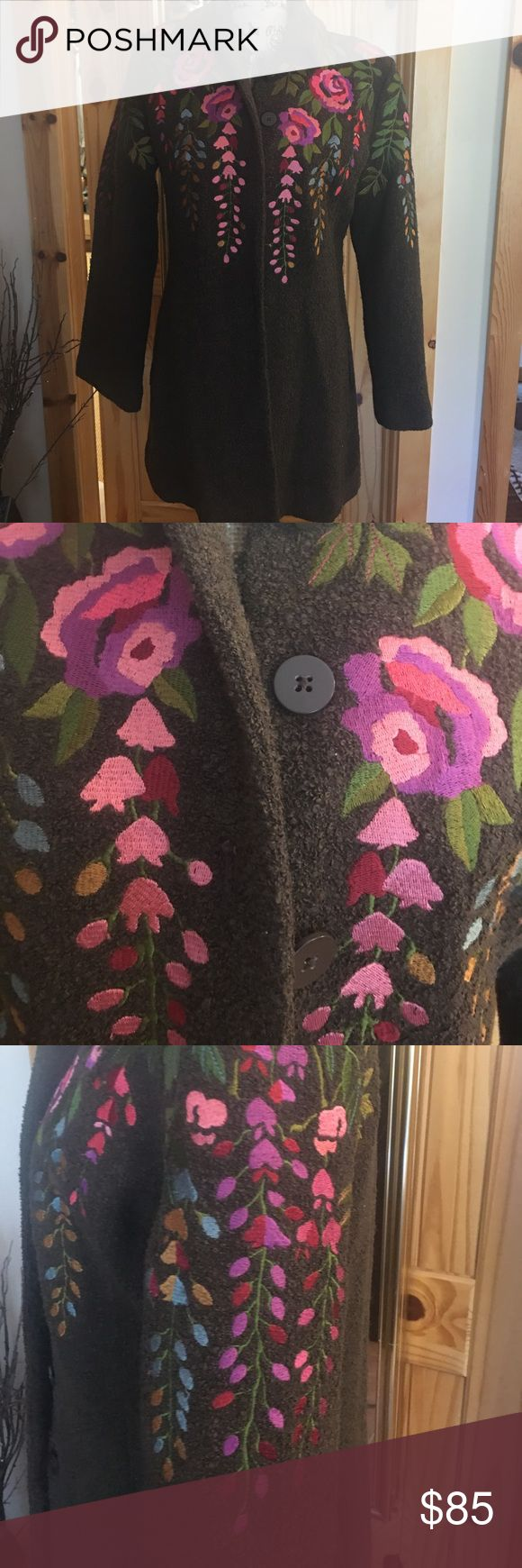 Lined  beautiful coat by Lois Dell'olio Lined coat with beautiful embroidery all over. See pics  you will get lots of compliments and will not find this in stores. Louis Dell'olio Jackets & Coats
