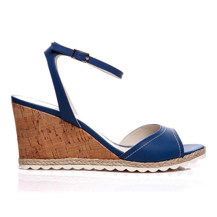 Code: 652B03 Heel height: 7 cm www.mourtzi.com #wedge #blue #sandal #midheels #alldaylong