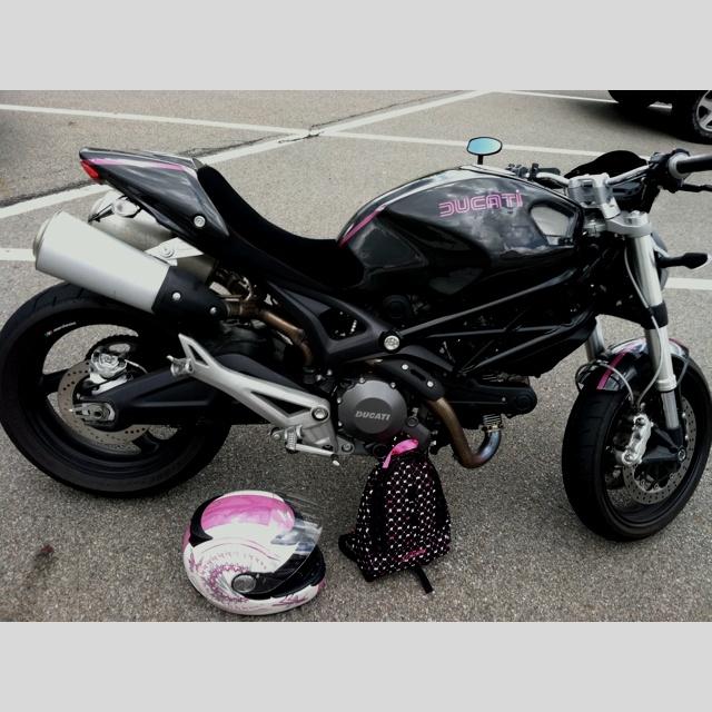 Ducati Monster 696 Carbon Fiber Body, Hot Pink Metallic Stripe. My