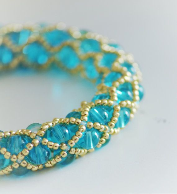 netting bracelet turquoise netted bracelet gold beaded elegant for by Braccialeart  Beaded Jewelry Patterns | Patterns, Bead Stitching, Necklace Bracelet Jewelry Pattern, Beading