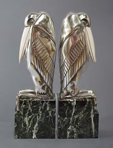 Аист-малибу-держатели для книг. Арт-деко стиль. Французский скульптор Марсель Bouraine