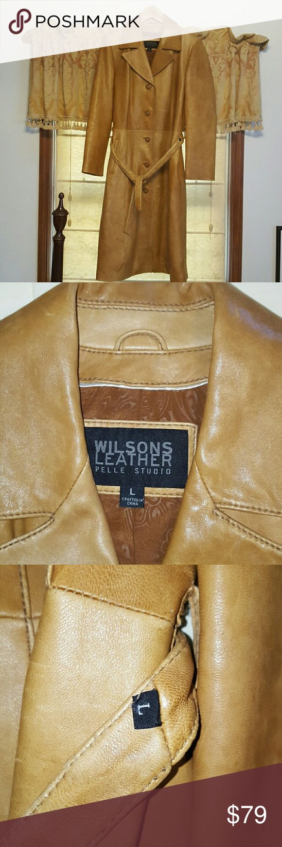 Women's leather coats Wilson's cognac full length coat 5 button with belt Wilsons Leather Jackets & Coats Trench Coats