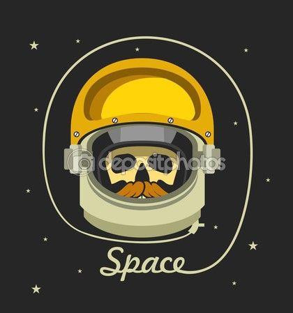 Casque d'astronaute avec un homme mort — Illustration #114634864