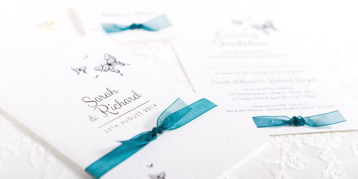 Adore Handmade Wedding Invitation Design - butterfly design and ribbon