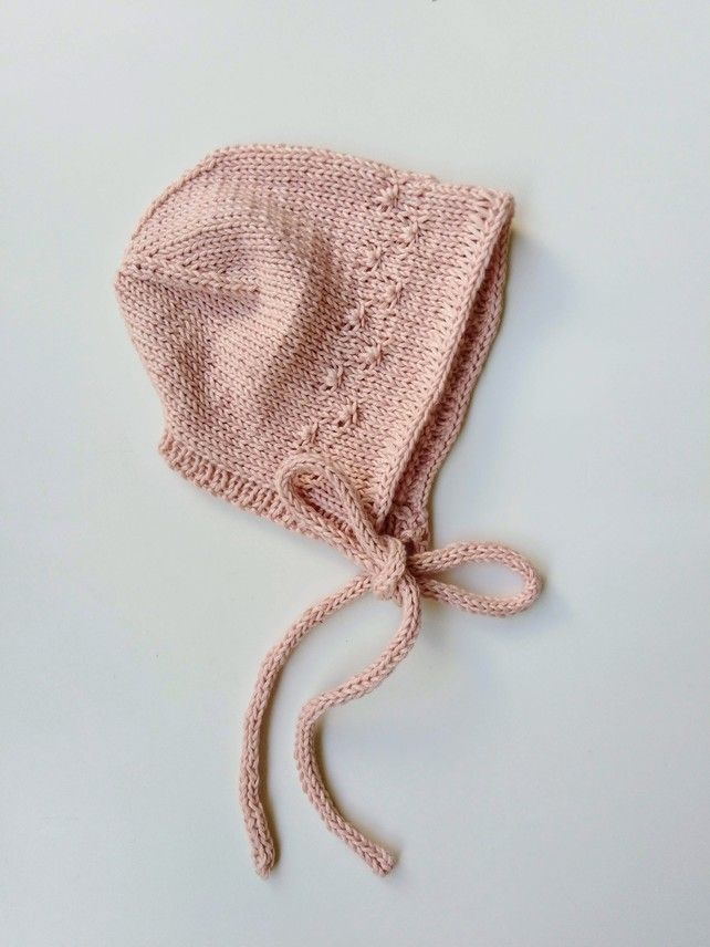 b84a177bee0 Hand knit cashmere baby bonnet for 0-3 months