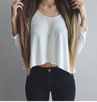 Blouse Shirt White Blouse Crop Tops Outfit Tumblr Cute