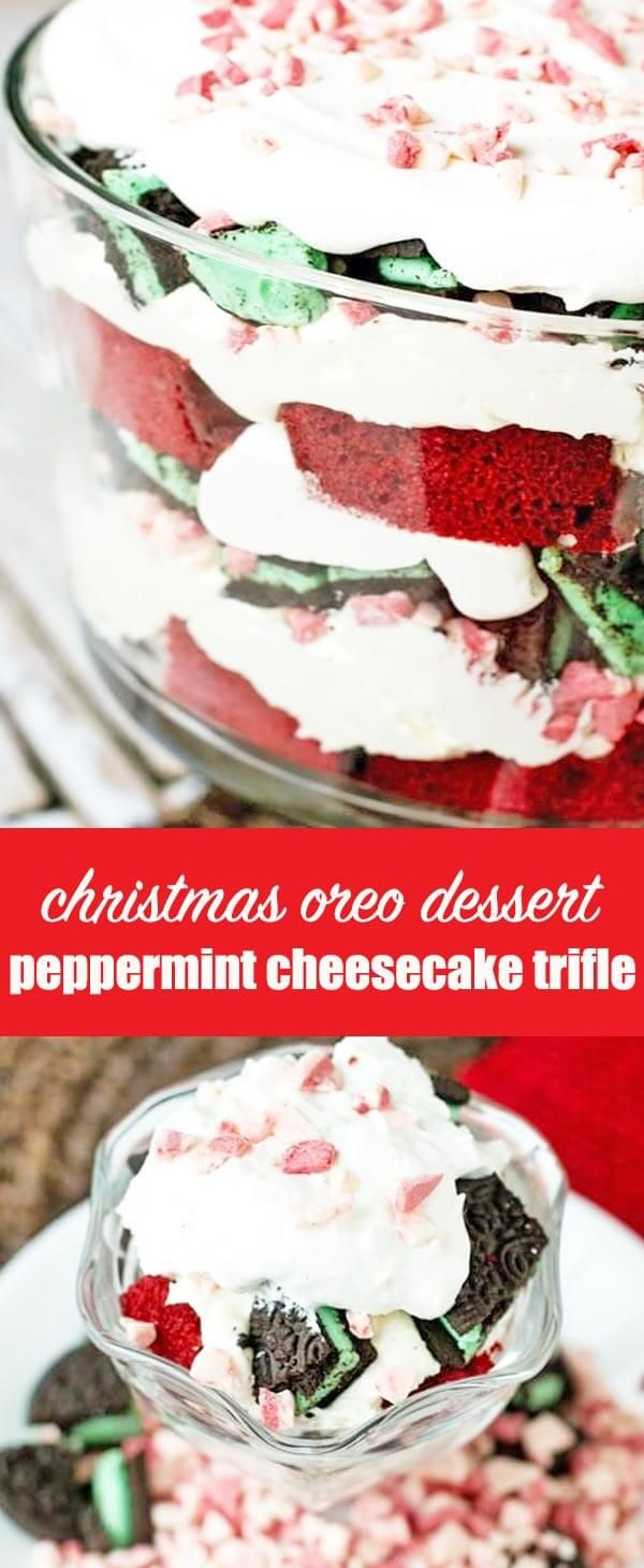 Red velvet cake layered with peppermint cream cheese filling, mint Oreos, Cool Whip and peppermint crunch candies fills this peppermint cheesecake trifle. This festive, layered, holiday dessert will serve (and wow!) a crowd.