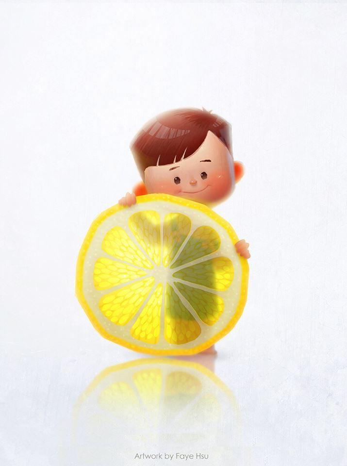 "Faye Hsu art ""Why my kid loves to eat lemon?!?O_o"""