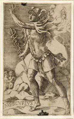 """Julius Bonasoni, """"Mercurius"""" (with his signs Gemini and Virgo), 16th century"""